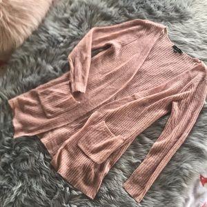 Fashion Nova Pink Knit Long Cardigan Sweater